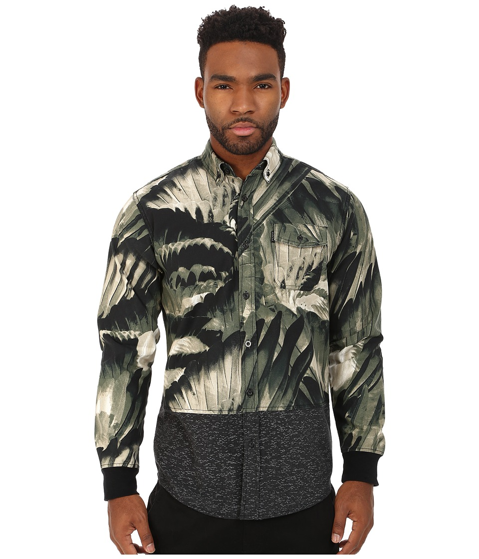 Staple - Feather Camo Woven (Olive) Men's Long Sleeve Button Up