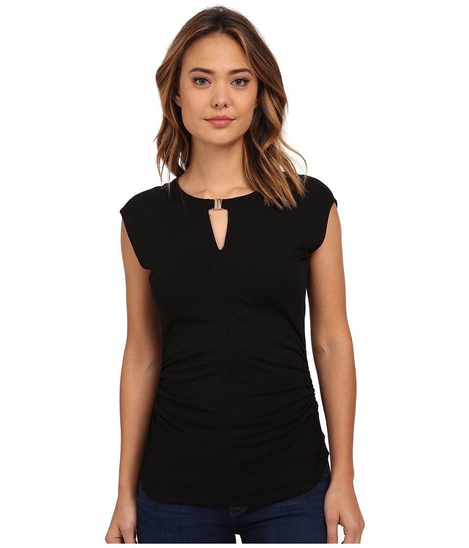 Vince Camuto - Cap Sleeve Keyhole Top w/ Hardware (Rich Black) Women's Blouse
