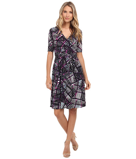 Donna Morgan - Elbow Sleeve Printed Jersey Wrap Dress (Peacock Multi) Women's Dress