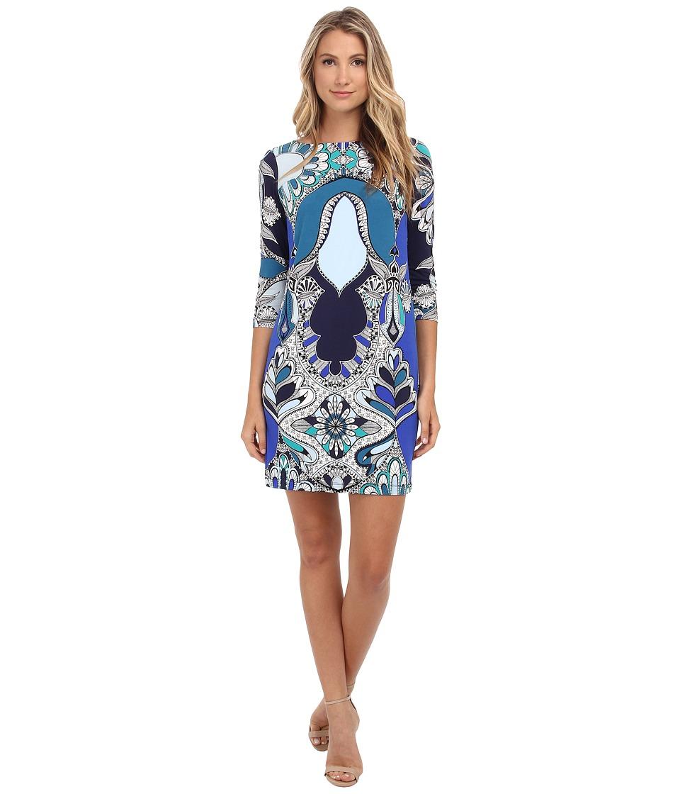 Donna Morgan - 3/4 Sleeve Shift Statement Print Dress (Navy Multi) Women