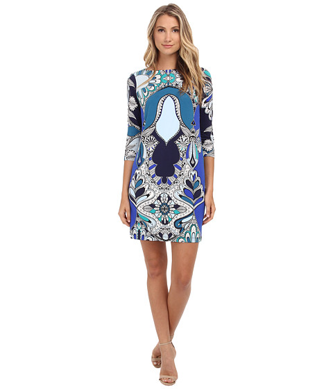 Donna Morgan - 3/4 Sleeve Shift Statement Print Dress (Navy Multi) Women's Dress