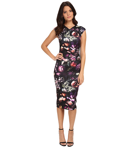 Ted Baker - Shadow Flora Bodycon Dress (Mid Grey) Women's Dress