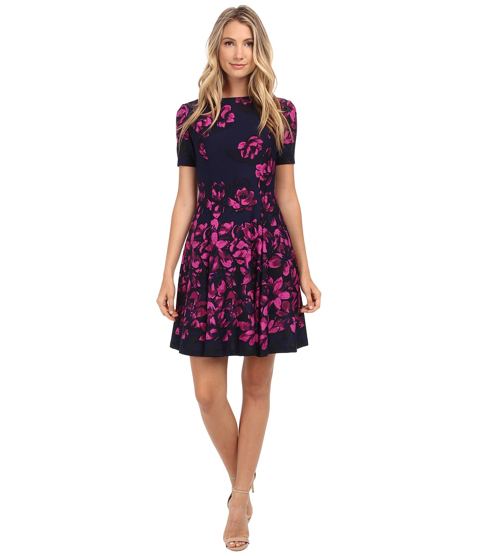 Donna Morgan - Short Sleeve Floral Printed Scuba Fit and Flare Dress (Midnight Multi) Women's Dress