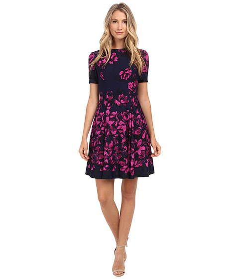 Donna Morgan - Short Sleeve Floral Printed Scuba Fit and Flare Dress (Midnight Multi) Women