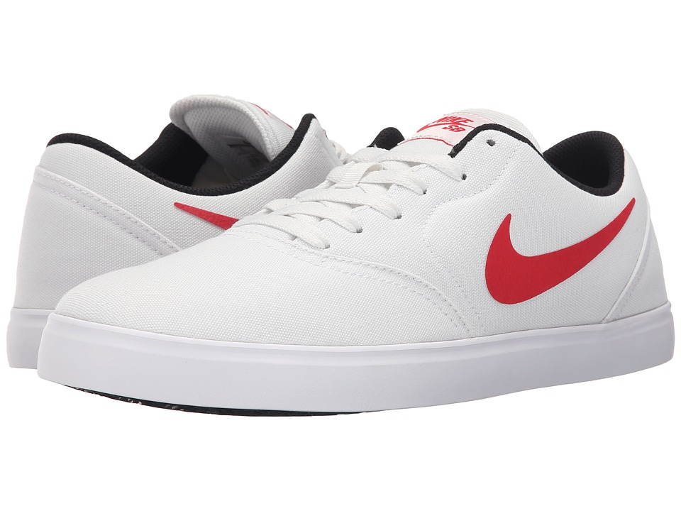 Nike SB - Check Canvas (Summit White/Black/White/University Red) Men's Skate Shoes