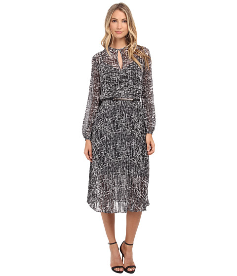 Donna Morgan - Long Sleeve Chiffon Midi Dress (Black Multi) Women's Dress