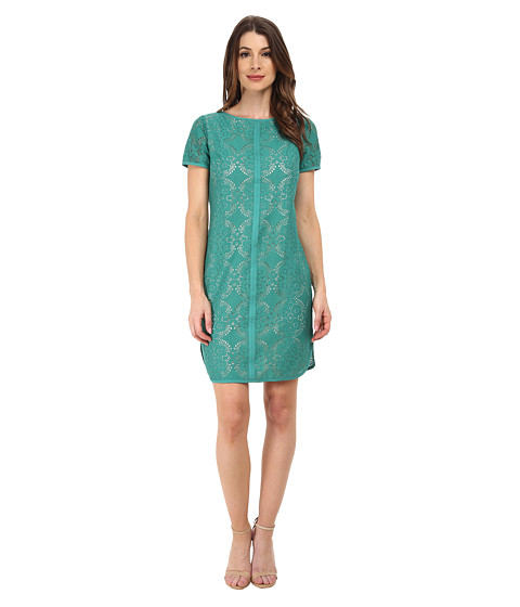 Adrianna Papell - Medallion Lace Shift Dress (Jade/Almond) Women's Dress