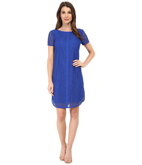 Adrianna Papell - Mini Medallion Lace Dress (Ocean) Women