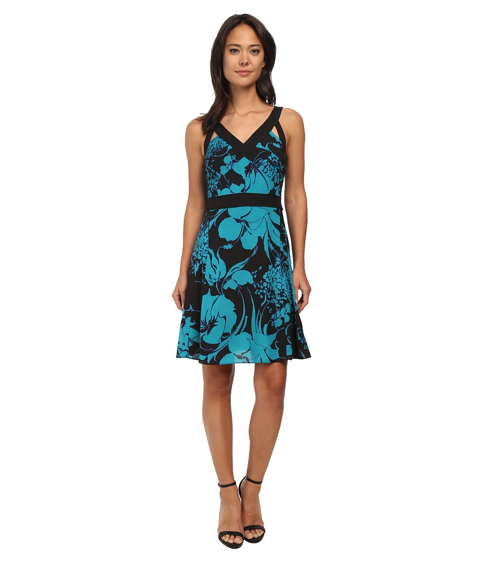 Adrianna Papell - Banded Dress with Cutout (Jade/Black) Women's Dress