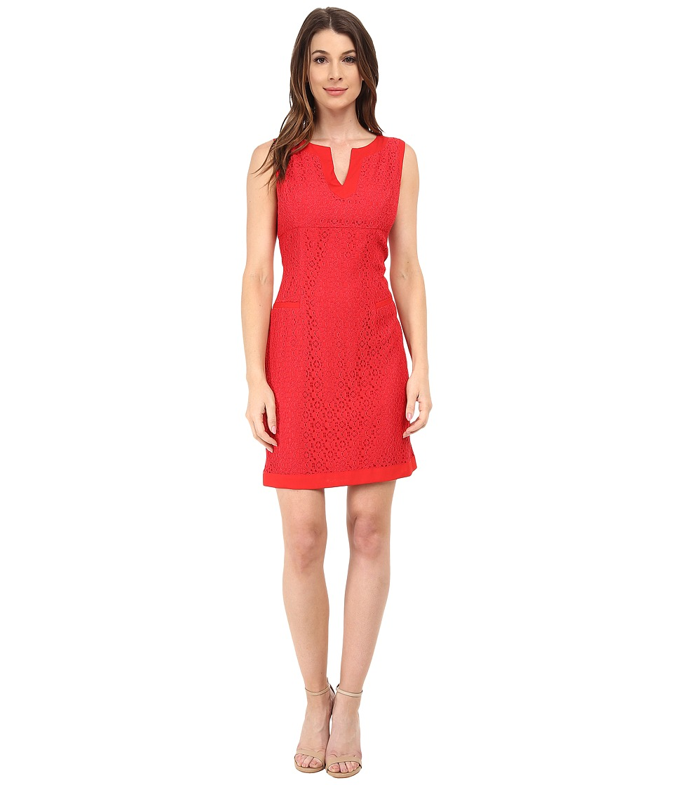 Adrianna Papell - Mini Medallion Lace Shift Dress (Carnation) Women's Dress