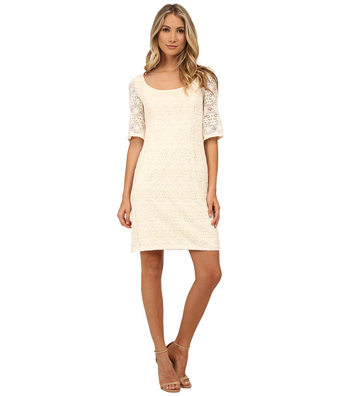 Adrianna Papell - Empire Waist Scoop Neck A-Line Dress (Ivory) Women's Dress