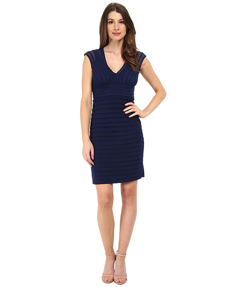 Adrianna Papell - Illusion Banded Shutter Dress (Ink) Women