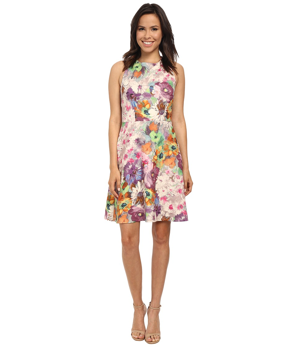 Adrianna Papell - Organza Layered Scuba Print Dress (Purple Multi) Women's Dress