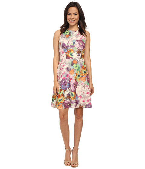 Adrianna Papell - Organza Layered Scuba Print Dress (Purple Multi) Women
