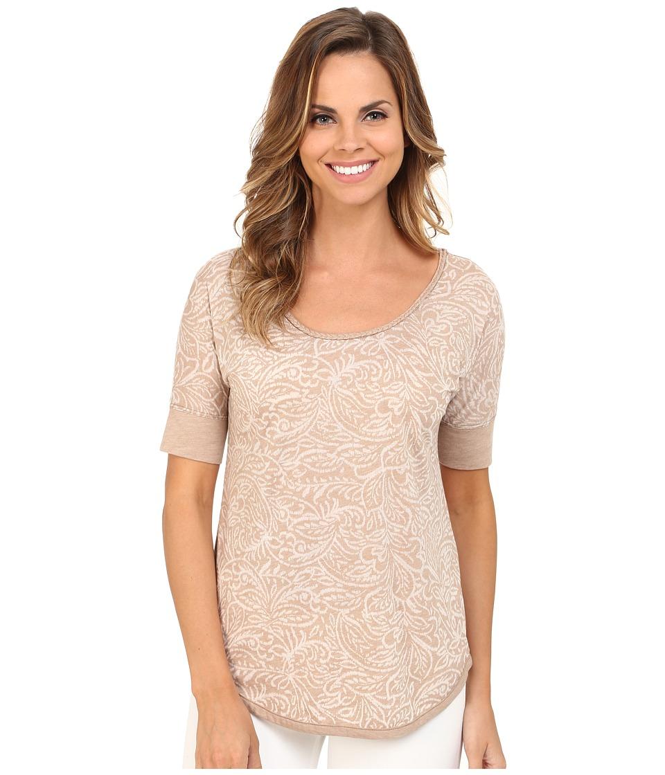 Mod-o-doc - Burnout Jersey Braided Trim Scoopneck (Flax) Women's T Shirt