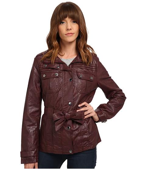 dollhouse - Belted Zip Jacket w/ Snap Placket (Brandy Wine) Women's Coat