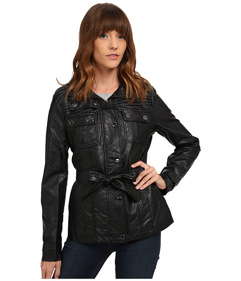 dollhouse - Four-Pocket Zip Jacket w/ Detachable Fleece Hood (Black 2) Women