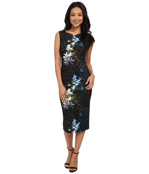 Ted Baker - Twlight Floral Fitted Dress (Black) Women's Dress