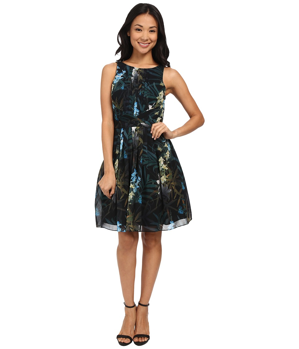 Ted Baker - Twilight Floral Pleat Dress (Black) Women's Dress