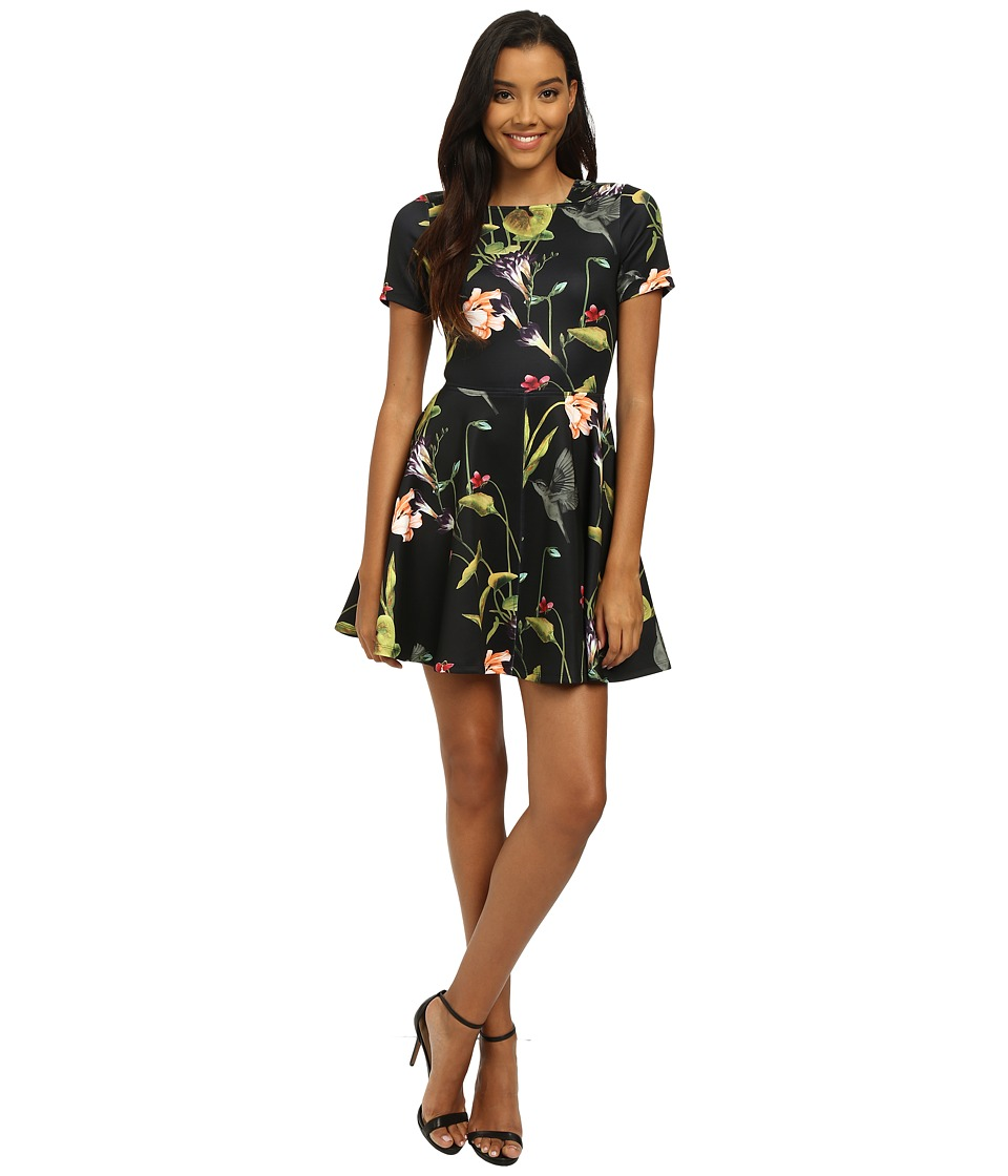 Ted Baker - Oriental Floral Skater Dress (Black) Women's Dress