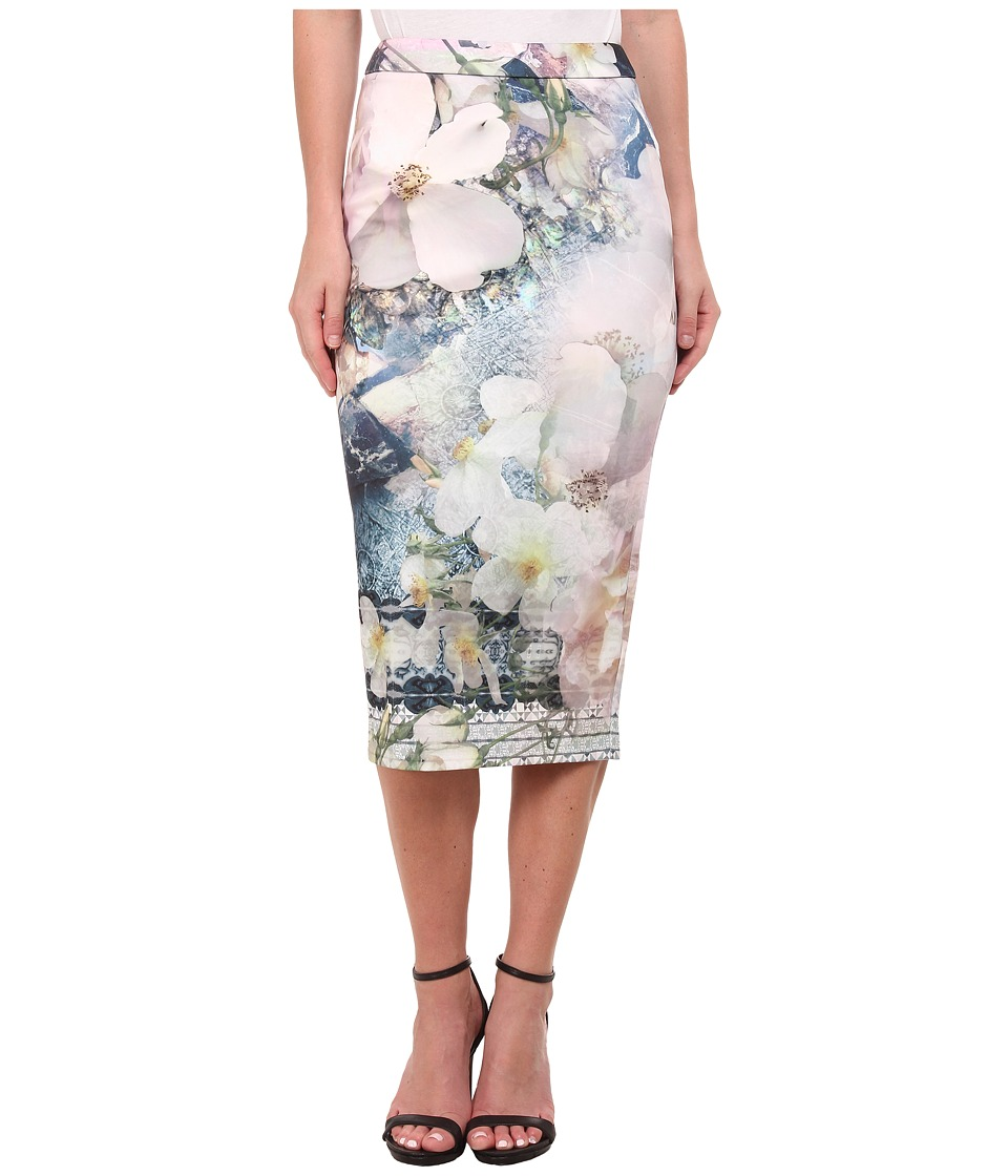 Ted Baker - Tile Floral Midi Skirt (Navy) Women