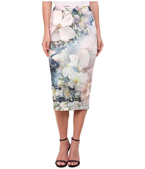 Ted Baker - Tile Floral Midi Skirt (Navy) Women's Skirt