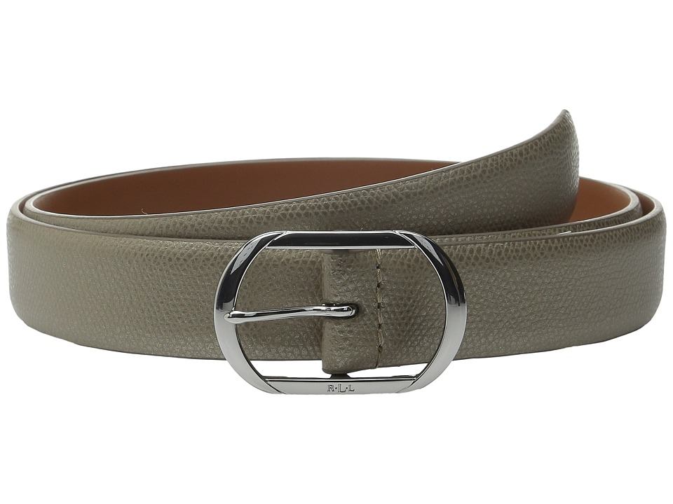 LAUREN Ralph Lauren - Whitby 1 1/8 Leather Centerbar (Silver Mink) Women's Belts