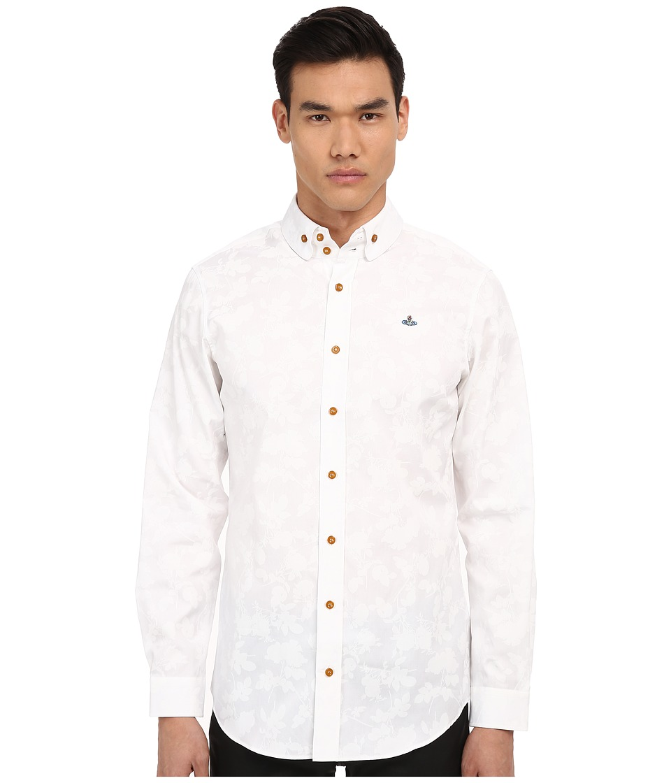 Vivienne Westwood - Printed Roses Oxford Two-Button Krall (White Print) Men's Long Sleeve Button Up