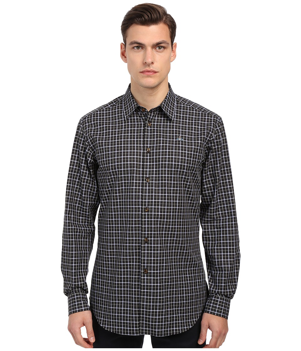 Vivienne Westwood - Biscuit Shirting Classic Cut Away Shirt (Blue Check) Men's Clothing