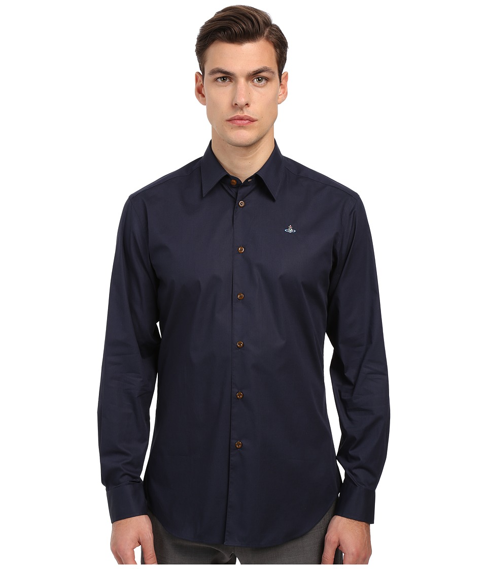 Vivienne Westwood - Stretch Poplin Classic Cut Away Shirt (Navy) Men's Clothing