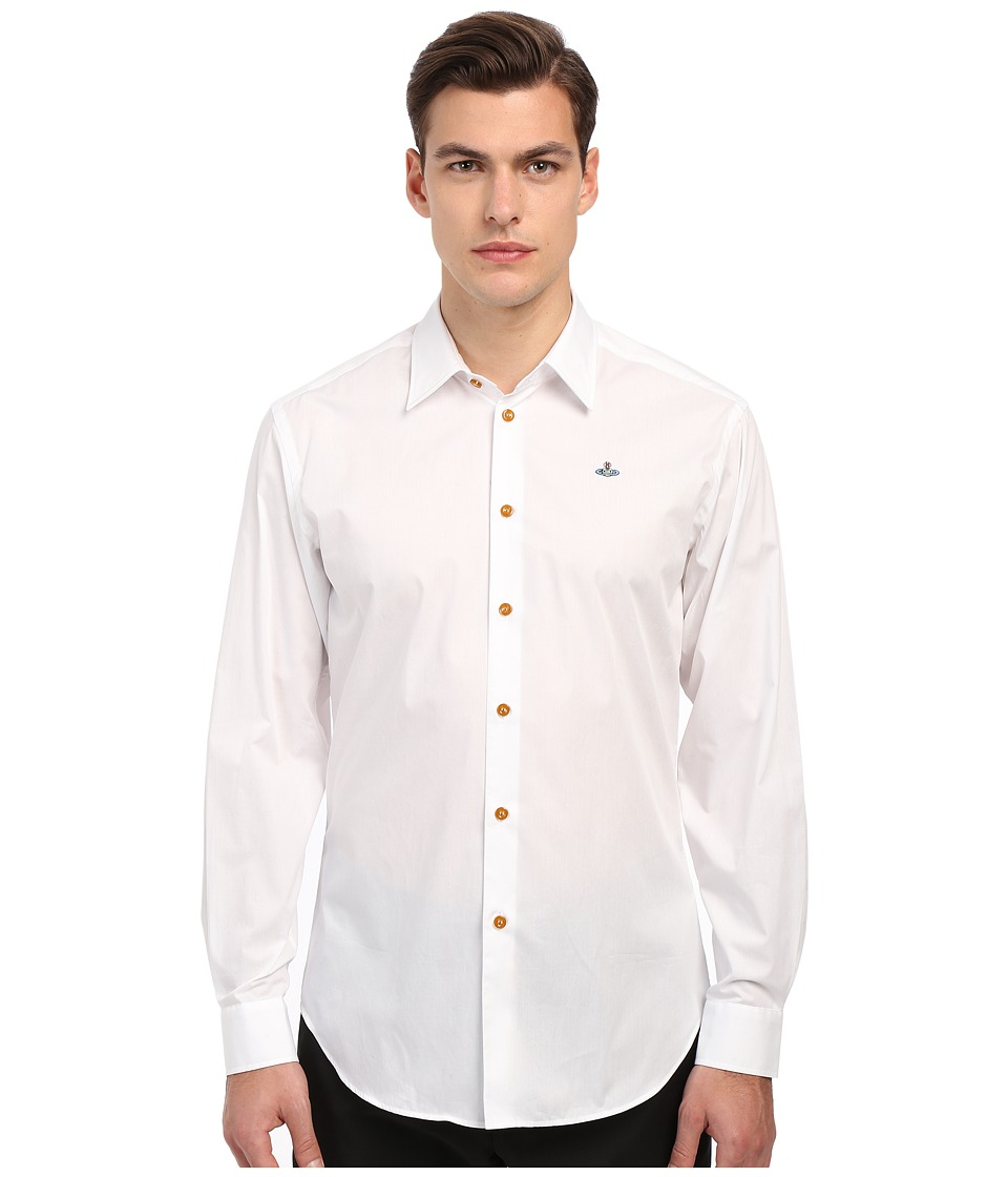 Vivienne Westwood - Stretch Poplin Classic Cut Away Shirt (White) Men's Clothing