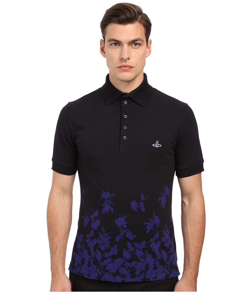 Vivienne Westwood - Absence Of Roses Pique Classic Polo (Navy) Men's Clothing