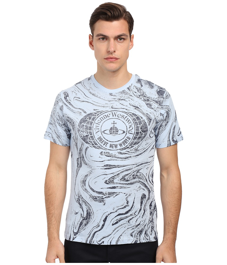 Vivienne Westwood - Jersey Brave New World Tee (Blue Marble) Men's T Shirt