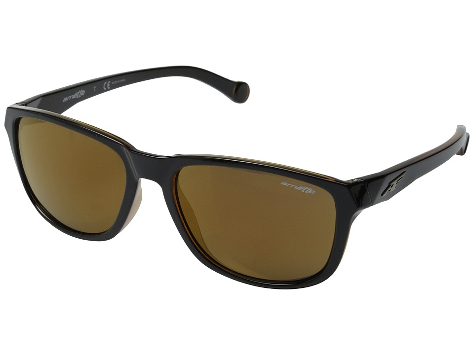 Arnette - Straight Cut (Black on Amber/Brown Mirror) Sport Sunglasses