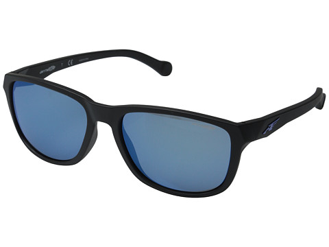 Arnette - Straight Cut (Matte Black/Blue Mirror) Sport Sunglasses