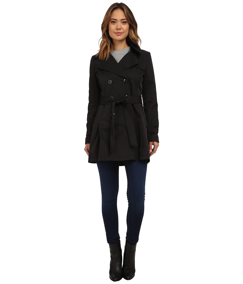 DKNY - Double Breasted Notch with Front Shield and Hood (Black) Women's Coat