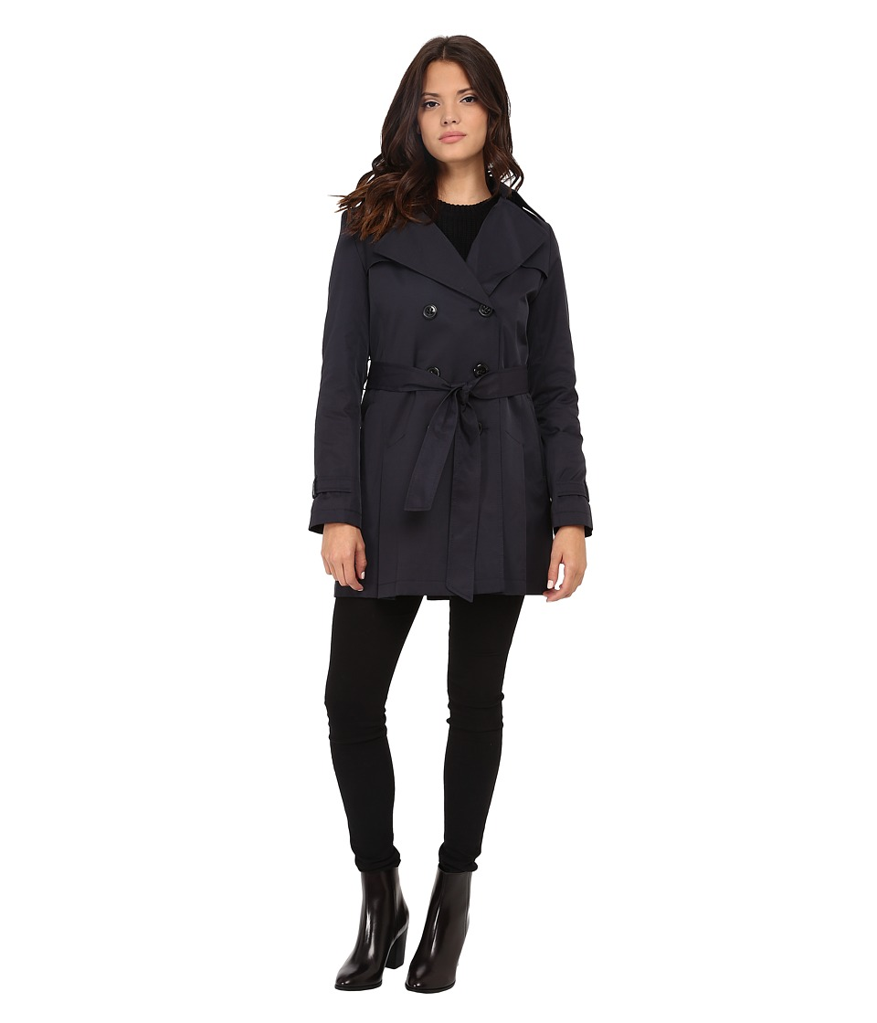 DKNY - Double Breasted Notch with Front Shield and Hood (Midnight) Women's Coat