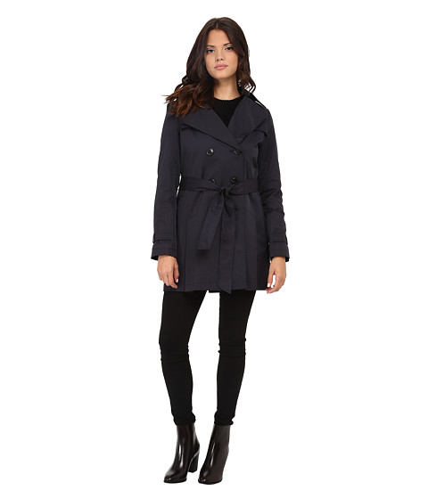 DKNY - Double Breasted Notch with Front Shield and Hood (Midnight) Women