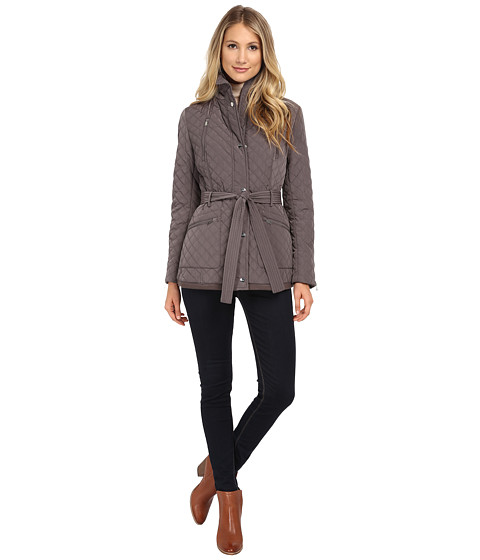DKNY - 3/4 Belted Quilt with Knit Details (Peat) Women's Coat