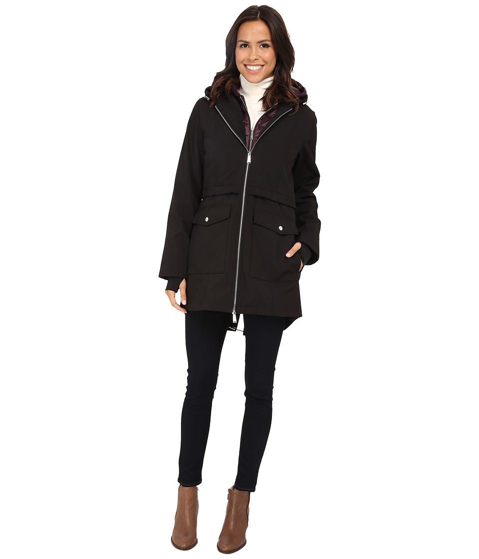 DKNY - 3/4 Anorak with Bib Vest (Black/Burgundy) Women's Coat