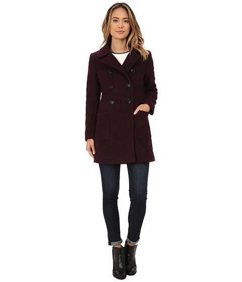 DKNY - Double Breasted Boucle with Patch Pockets (Shiraz) Women's Coat