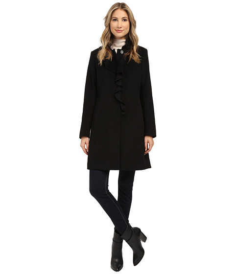 DKNY - Single Breasted Notch Collar Reefer (Black) Women's Coat