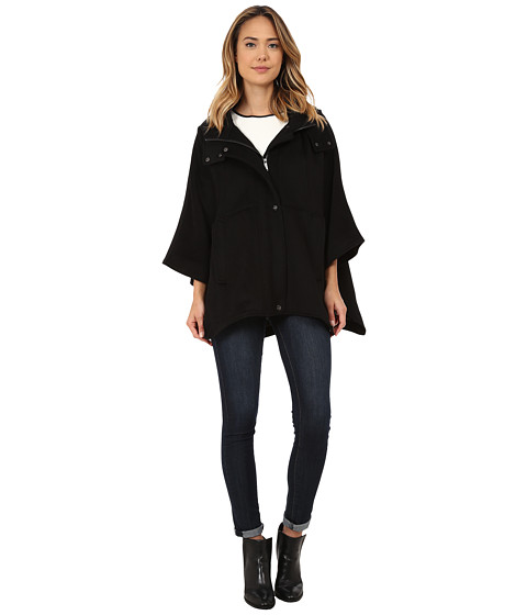 DKNY - Hooed Cape (Black) Women