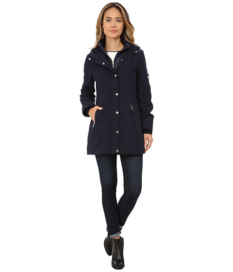 DKNY - Parka with Inner Bib Zipper Details (Navy) Women