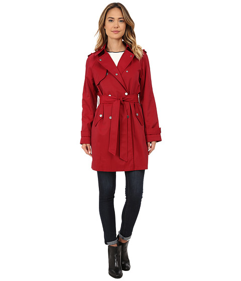 DKNY - Double Breasted Snap Belted Trench (Red) Women's Coat