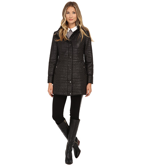 DKNY - Hooded Stand Collar with Welt Pockets (Black) Women's Coat