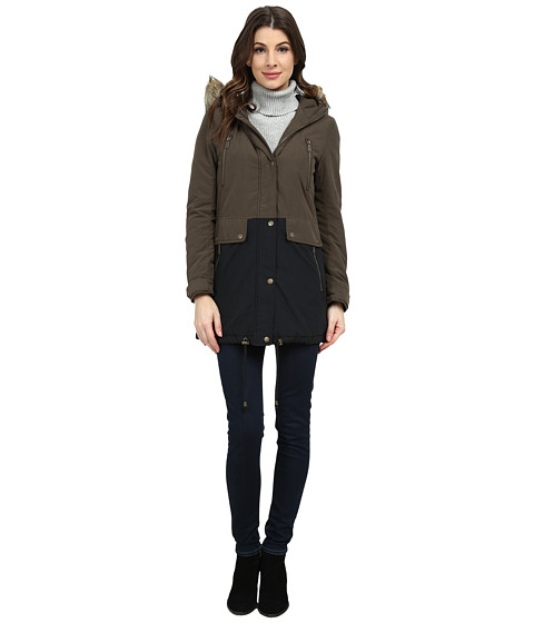 DKNY - Mix Two-Tone Anorak (Olive/Black) Women's Coat