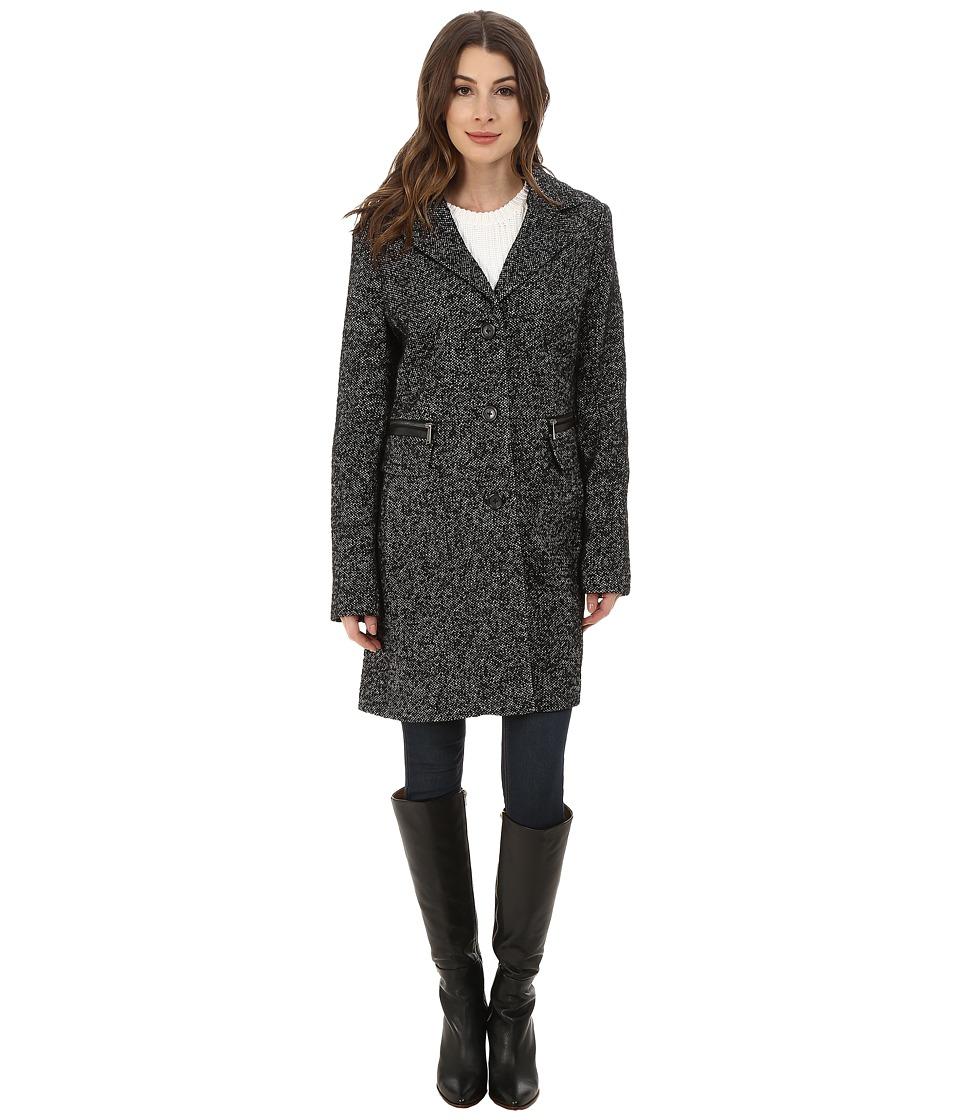 DKNY - Single Breasted Tweed Reefer (Black/White) Women's Coat