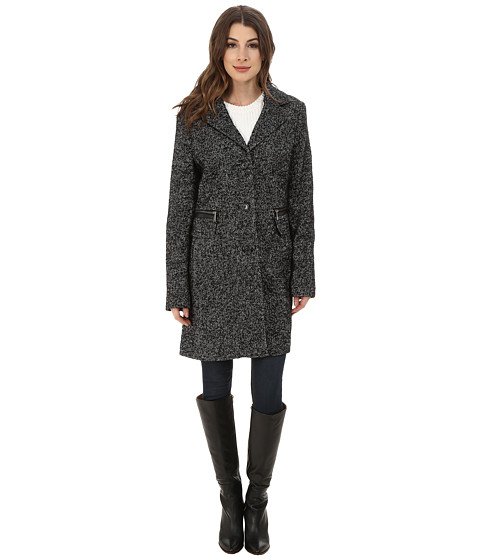DKNY - Single Breasted Tweed Reefer (Black/White) Women's Coat