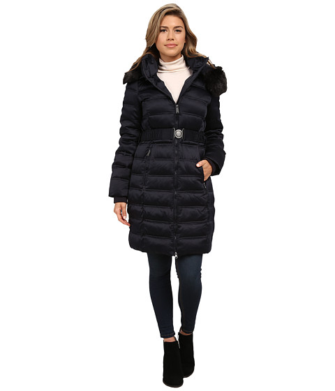 DKNY - Belted Coat with Detachable Fur Collar (Navy) Women's Coat